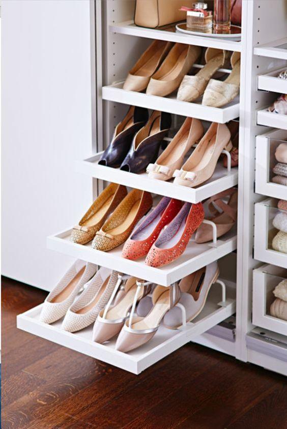 Closet Inspiration | Folding shoe organizer   #NaplesClosets #CustomCl...