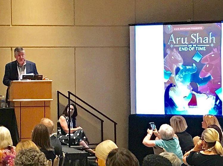 Rick Riordan presents 'Aru Shah' at #ALAAC17 by @NotRashKnee #RickRior...