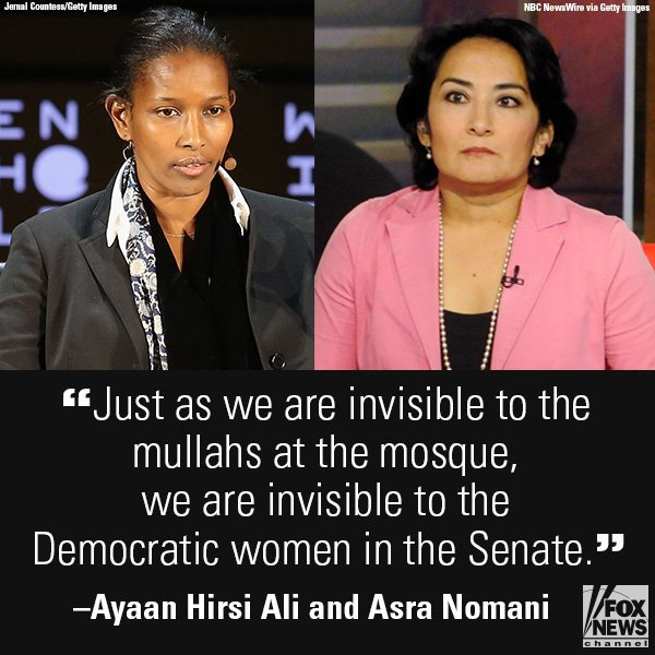 .@Ayaan Hirsi Ali, @AsraNomani accuse Democrat senators of ignoring them in hearing https://t.co/WsYbhxclRN
