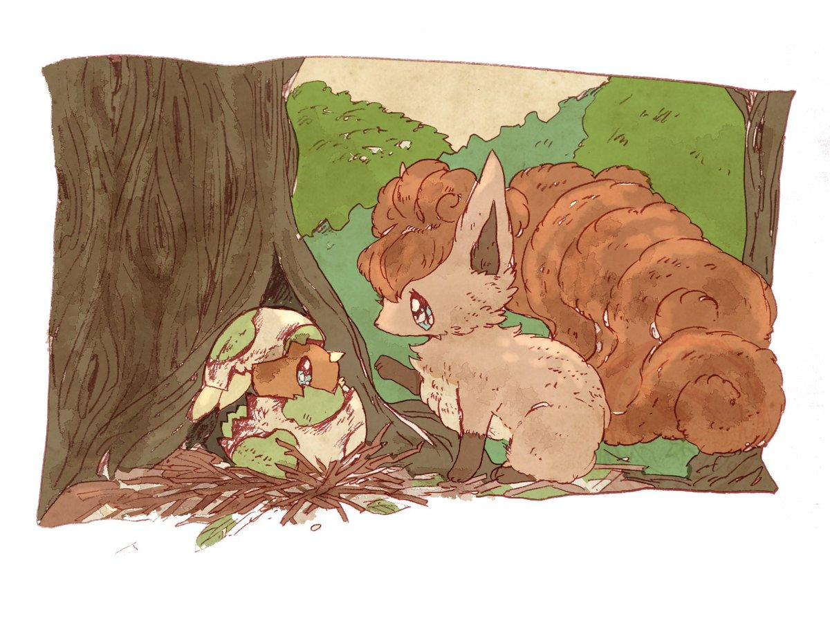 A tale of two friends: Vulpix and the newborn Torchic.   (Artist: ocoyuzu7777 (2017):  http:// nin.tel/eevee1  &nbsp;  )  #Pokemon #PokemonArt<br>http://pic.twitter.com/a3PI5hFW6q