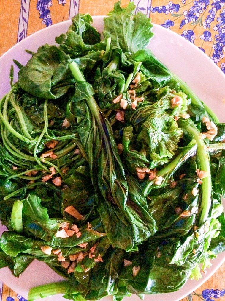 Garden harvest for lunch! Asian #kale  #VegetableGarden #gardening htt...