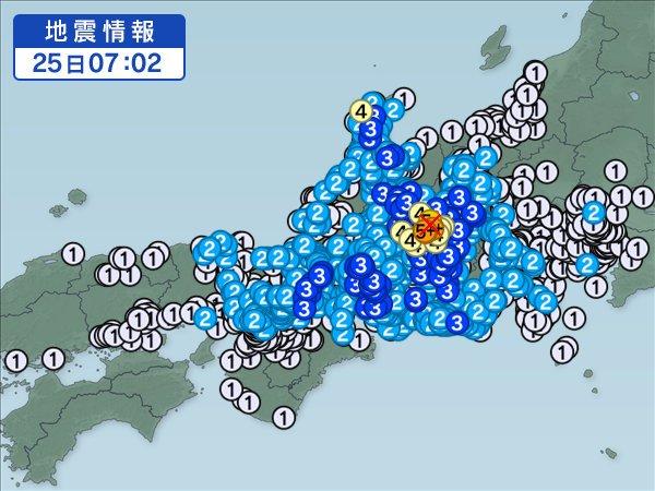 【速報】6月25日7時02分ごろ、長野県南部で震度5強を観測する地震がありました。各地の震度はこちら。→ https://t.co/BysI...