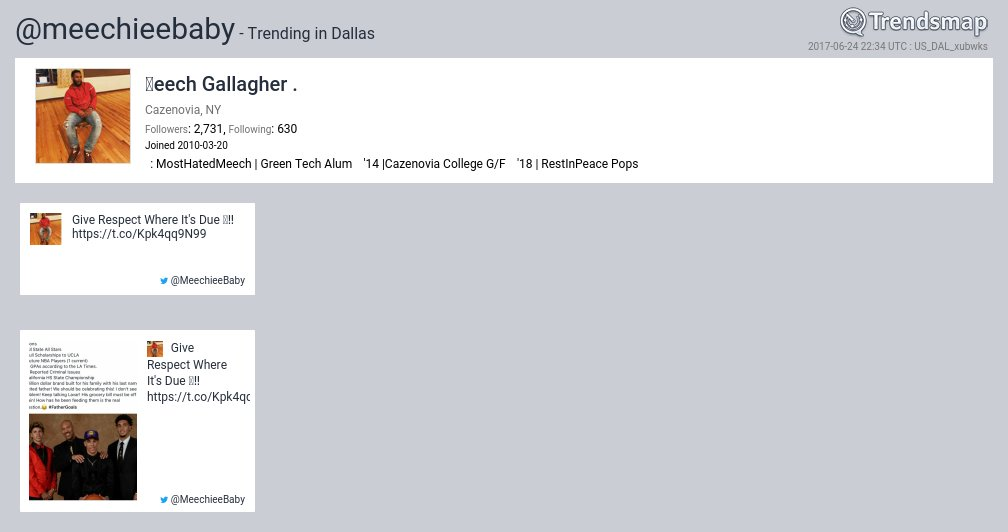 〽️eech Gallagher ., @meechieebaby is now trending in #Dallas  https://...