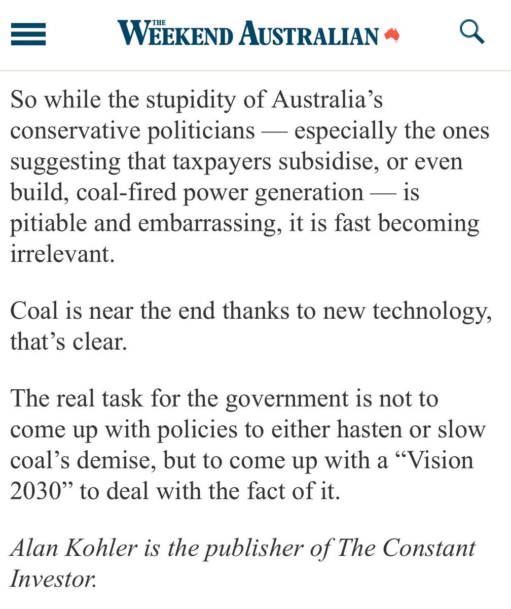 When one of the most senior finance journalists in Australia describes the Federal Govt in these terms there&#39;s a big problem #auspol #coal  <br>http://pic.twitter.com/3qRuuRT5D8