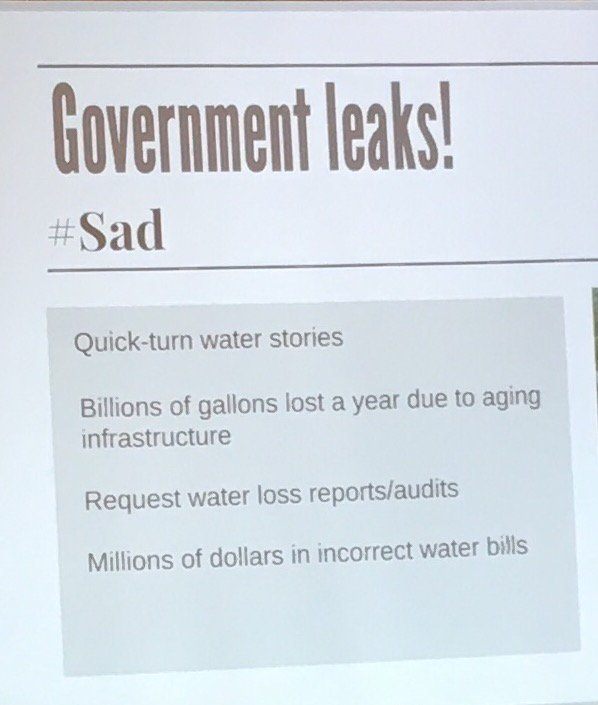Quick-turn water stories suggested by @AndyPierrotti at #IRE17. #sad #leaks