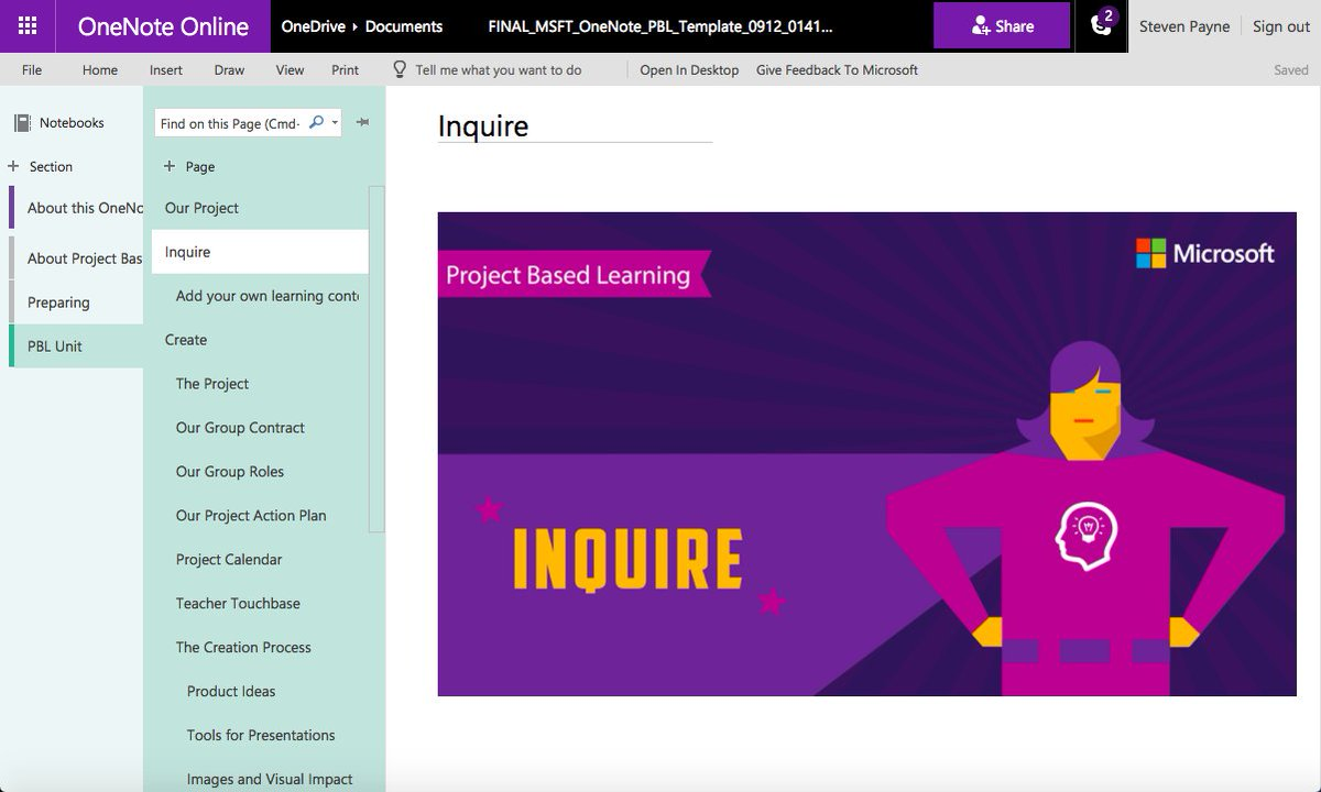 steven payne on twitter here s the pbl onenote template download