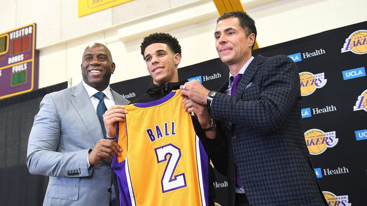 NBA  Johnson Says Ball is  New Face  of Lakers  5519adf03