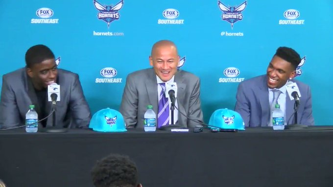 Please welcome the newest members of the Hornets: Malik Monk and... Dwyane Wade? (📹: @JoshFox46)