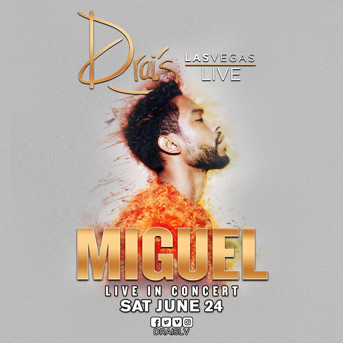TONIGHT @Miguel returns to the world famous #Drais stage!   #DraisLV #DraisLIVE #DraisNightclub #LasVegas #Vegas #Miguel #R&amp;B #HipHop<br>http://pic.twitter.com/xT2glD0mOU &ndash; bij Drais Las Vegas
