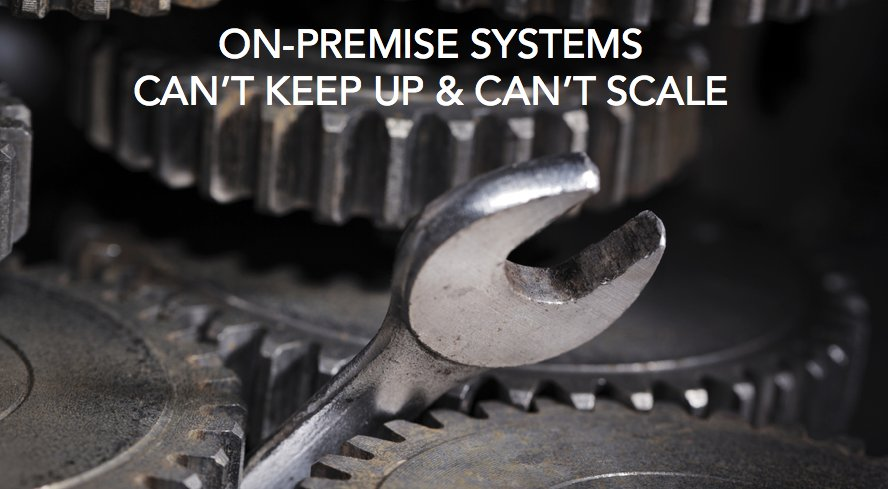 #Onpremise systems can&#39;t keep up &amp; can&#39;t scale  #CloudSecurity @451Research Steve McAtee @VibrantCU @evidentdotio   http:// okt.to/5Utz0Q  &nbsp;  <br>http://pic.twitter.com/3BTs3cbQc5