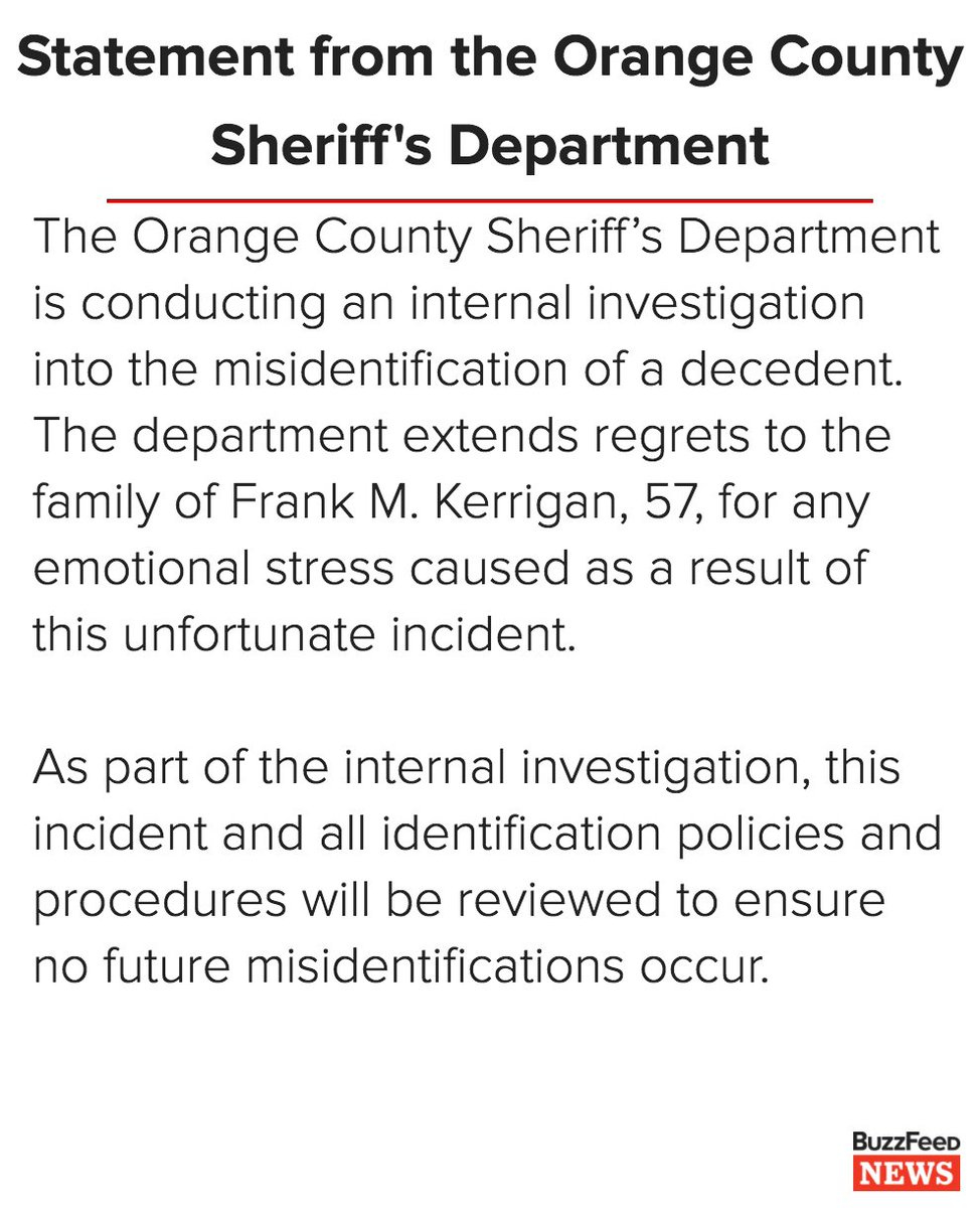 Sheriff's department admits it wrongly identified dead man weeks after his funeral https://t.co/J5WHstZZ79