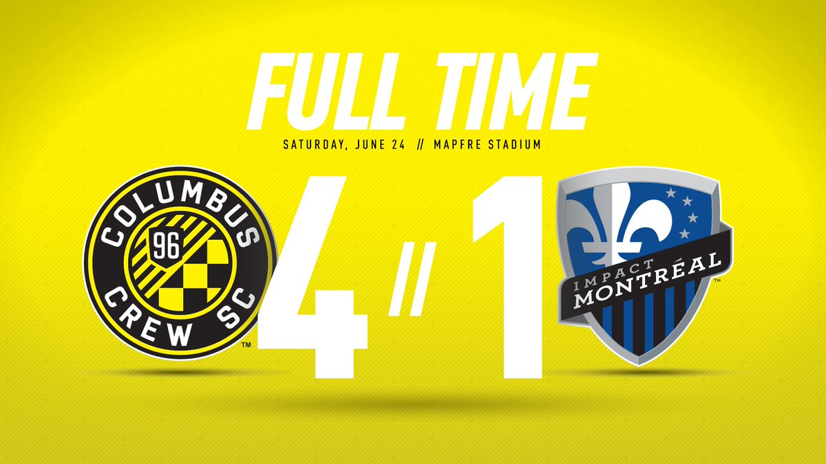 1⚽️ 2⚽️ 3⚽️ 4⚽️ That's a #CrewSC win at @MAPFREStadium! #CLBvMTL https...