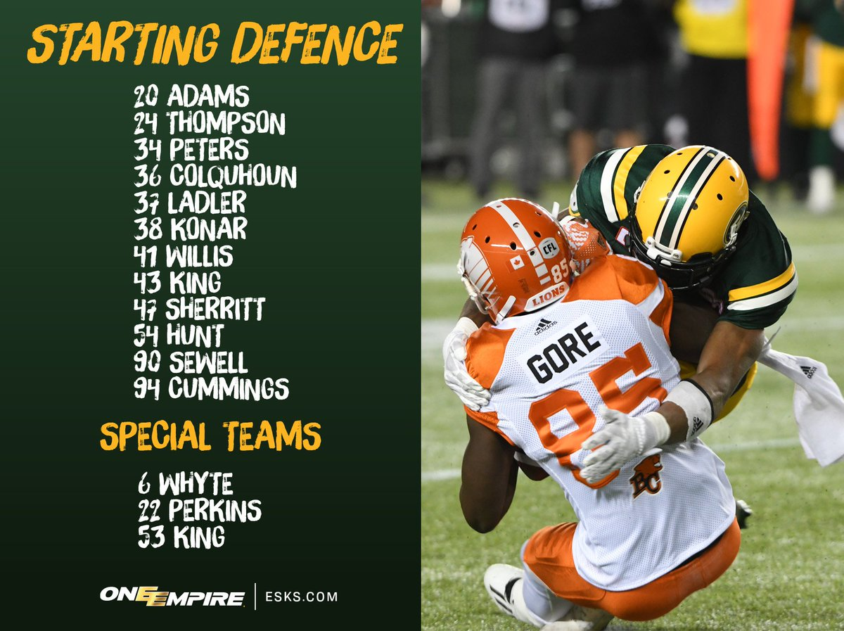 Here's a quick look at the #Esks starting lineup against the @BCLions....