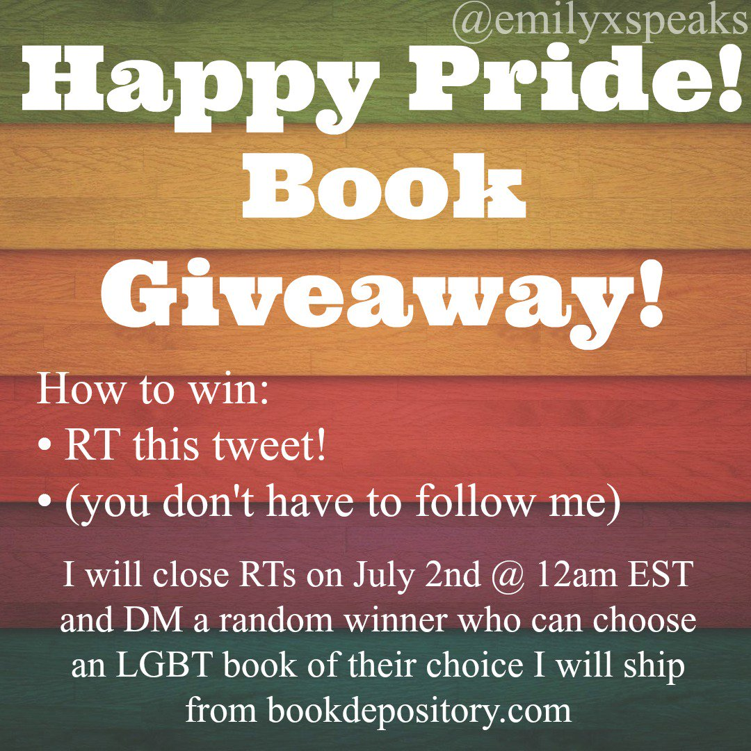 I want to give an LGBT book to someone who might not be able to get one. RT to win! Open till July 2nd @ 12am EST. #booksfortrade #Booktube <br>http://pic.twitter.com/lSTdlW2TjJ