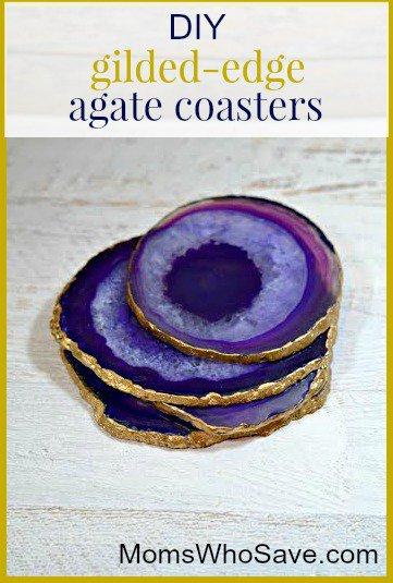 DIY Gilded-Edge Agate Coasters