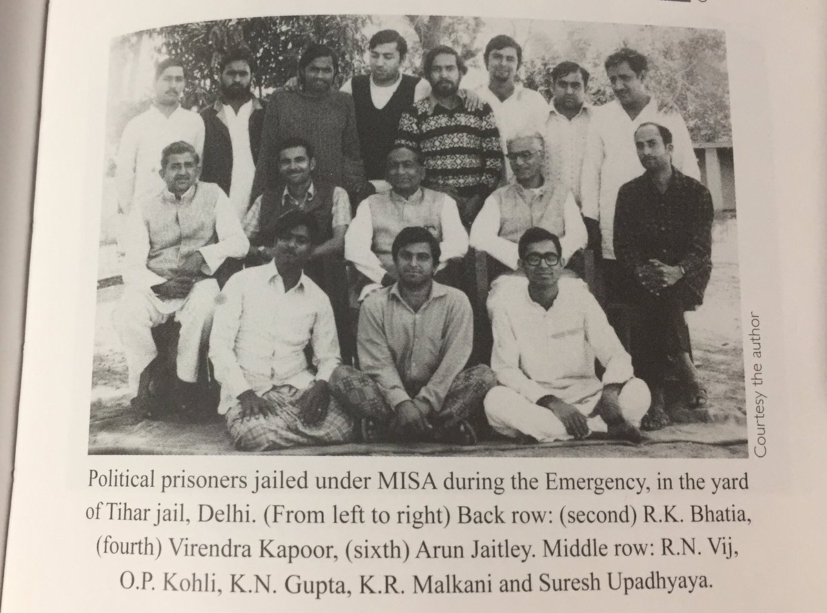 Here\'s a photo of my dadu, who spent 17 months in jail during Emergency. @arunjaitley also in the photo. (1/n)