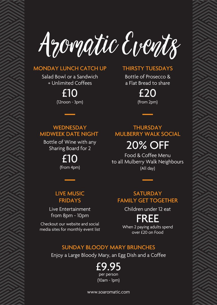Check out our #new #aromatic #events  It&#39;s #sunday #bloodymary #brunch #time 10am-1pm #breakfast #offers #coffee #meregreen #suttoncoldfield<br>http://pic.twitter.com/neRMnz3yC7