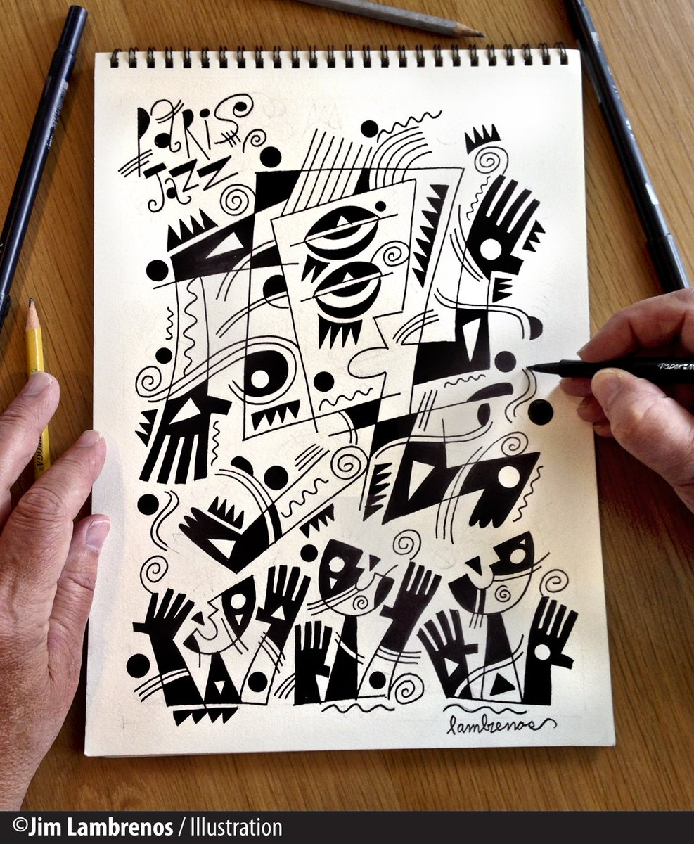 &quot;Paris Jazz&quot; Creating a little Rhythm and Blues Magic. New concept in a series of works. #Sketch #Paris #Jazz<br>http://pic.twitter.com/Ho9cQF5uxO