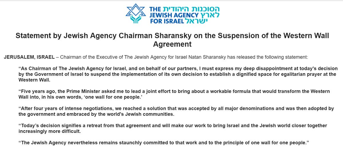 Noga Tarnopolsky On Twitter Statement By Jewishagency Chairman