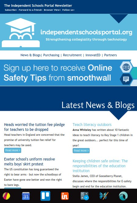 The Latest ISP newsletter is out now! #Ednews #resources #research &amp; #events  http:// mailchi.mp/bluecoweducati on/yn0bsa1eo7-5801337 &nbsp; …  @Smoothwall #edchat #edtech #SLTchat<br>http://pic.twitter.com/MsZBnZtA0c