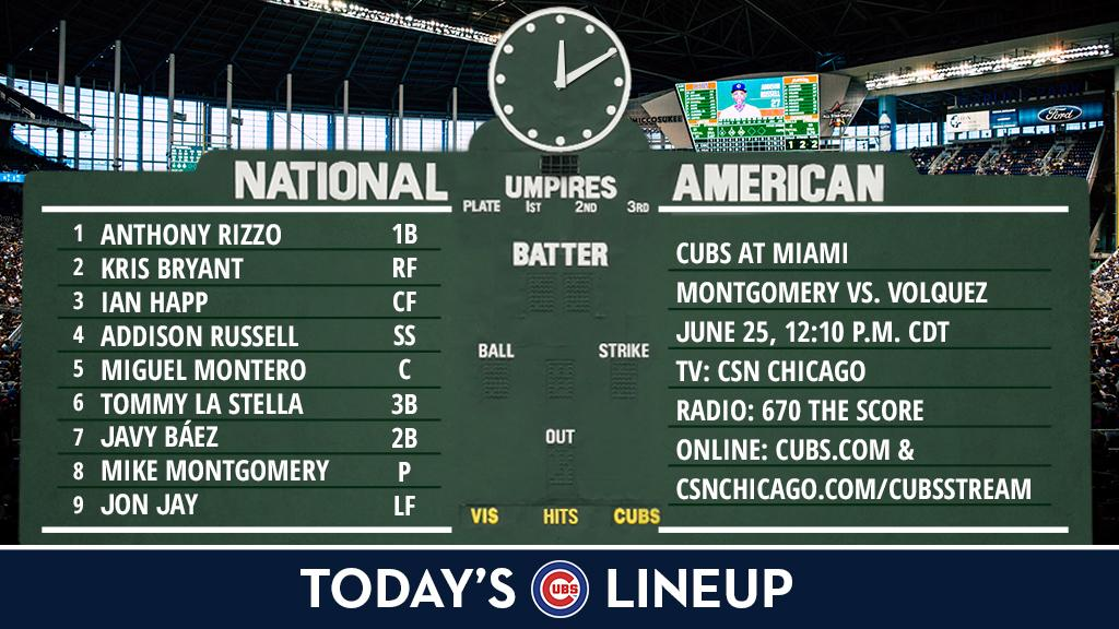 Here is today's #Cubs lineup for the series finale in Miami.  Game pre...