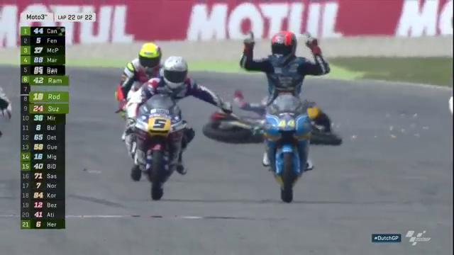#Moto3 result 🏁  Incredible finish! @aroncanet44 steals it on the last lap from Fenati and McPhee!  #DutchGP
