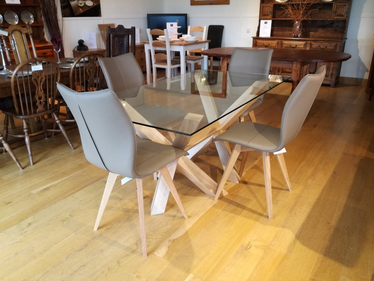 Glass top #oak framed #dining #tables different sizes available give us a call #oakfurniture #woodworking #87RT<br>http://pic.twitter.com/GlixCmFbeW