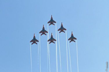 Combat aircraft show over Voronezh Water (Russia)