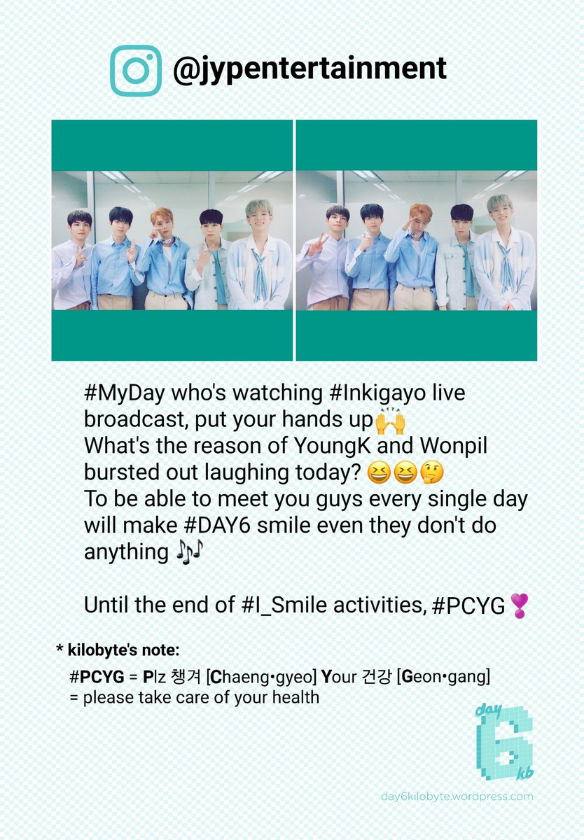 [TRANS] 170625 DAY6 from JYP Entertainment&#39;s Official Instagram  https://www. instagram.com/p/BVv8YkHlTCv/  &nbsp;    #PCYG #Seriously #Everyone #TakeCareOfYourHealth<br>http://pic.twitter.com/eAE8sQujRq