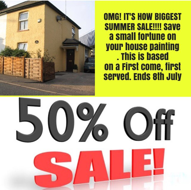 OMG! IT&#39;S HOW BIGGEST SUMMER SALE!!!! Ends 8th July contact us via the website   http:// wallandroofcoating.co.uk  &nbsp;   Or on 07786066841 #HomeImprovement <br>http://pic.twitter.com/I4LLkUggcN