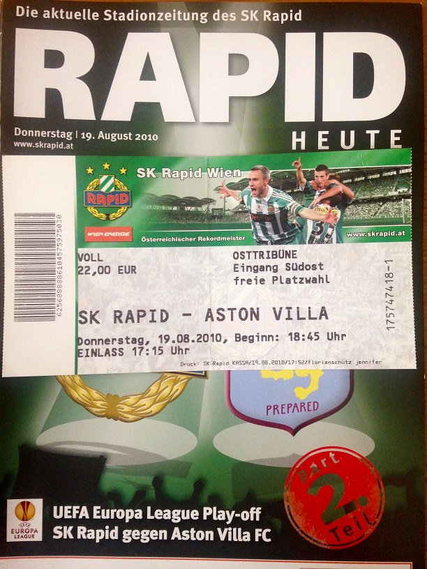 mint TICKET Friendly 2009//10 Rapid Wien Liverpool FC