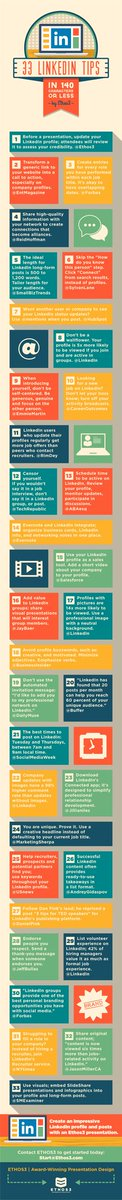 33 #LinkedIn tips #infographics #digitalmarketing #inboundmarketing #growthhacking #InfluencerMarketing #smm #sem #seo #socialmediamarketing<br>http://pic.twitter.com/UxB5Y1ML8j
