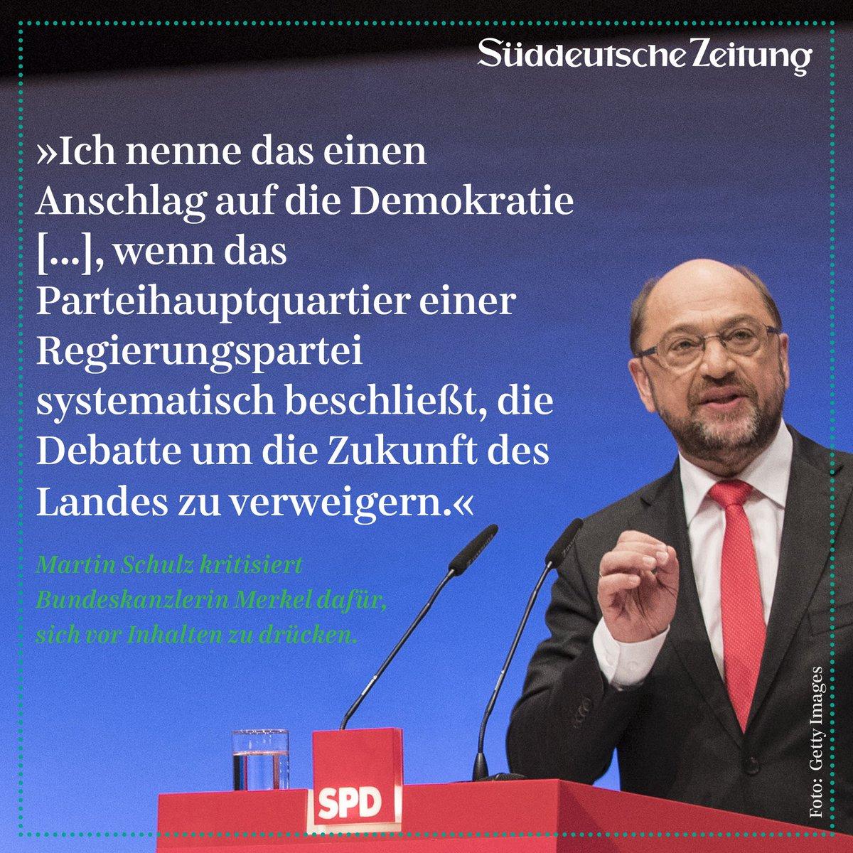 Martin Schulz kritisiert Bundeskanzlerin Merkel dafür, sich vor Inhalten zu drücken. #SPDbpt17