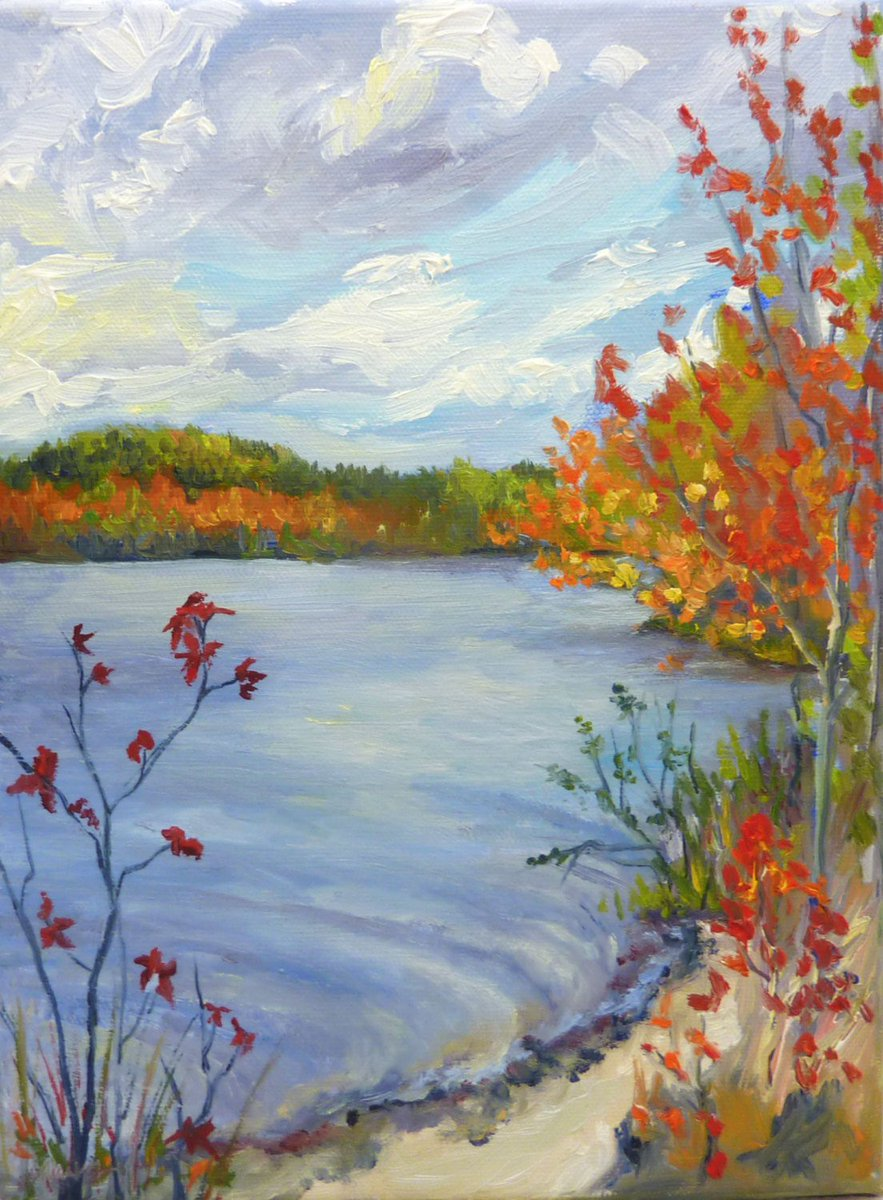 Fine Art Landscape Oil Painting Fall Lake and Leaves  https:// seethis.co/AWeLd/  &nbsp;   #pleinair #winter #landscapepainting #contemporaryart #etsy<br>http://pic.twitter.com/qRHy2eJ8IH