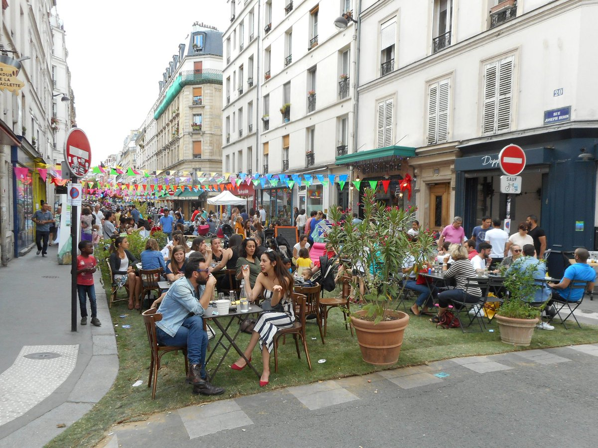 Remove cars, install some grass &amp; you will turn any local #street into a #PublicSpace full of life. Rue Joseph Dijon, #Paris. <br>http://pic.twitter.com/OEYfSlWYv8