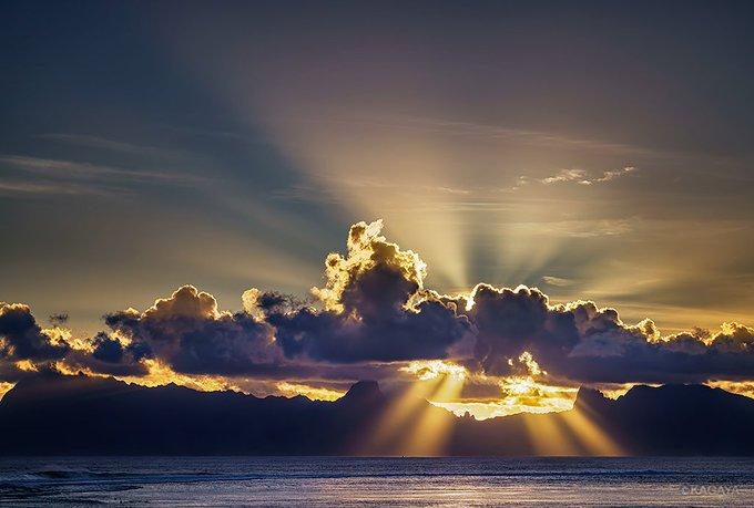 黄金の光芒を投げて沈みゆく夕日。(先日タヒチ島より撮影。下はお隣のモーレア島) 明日から穏やかな一週間になりますように。