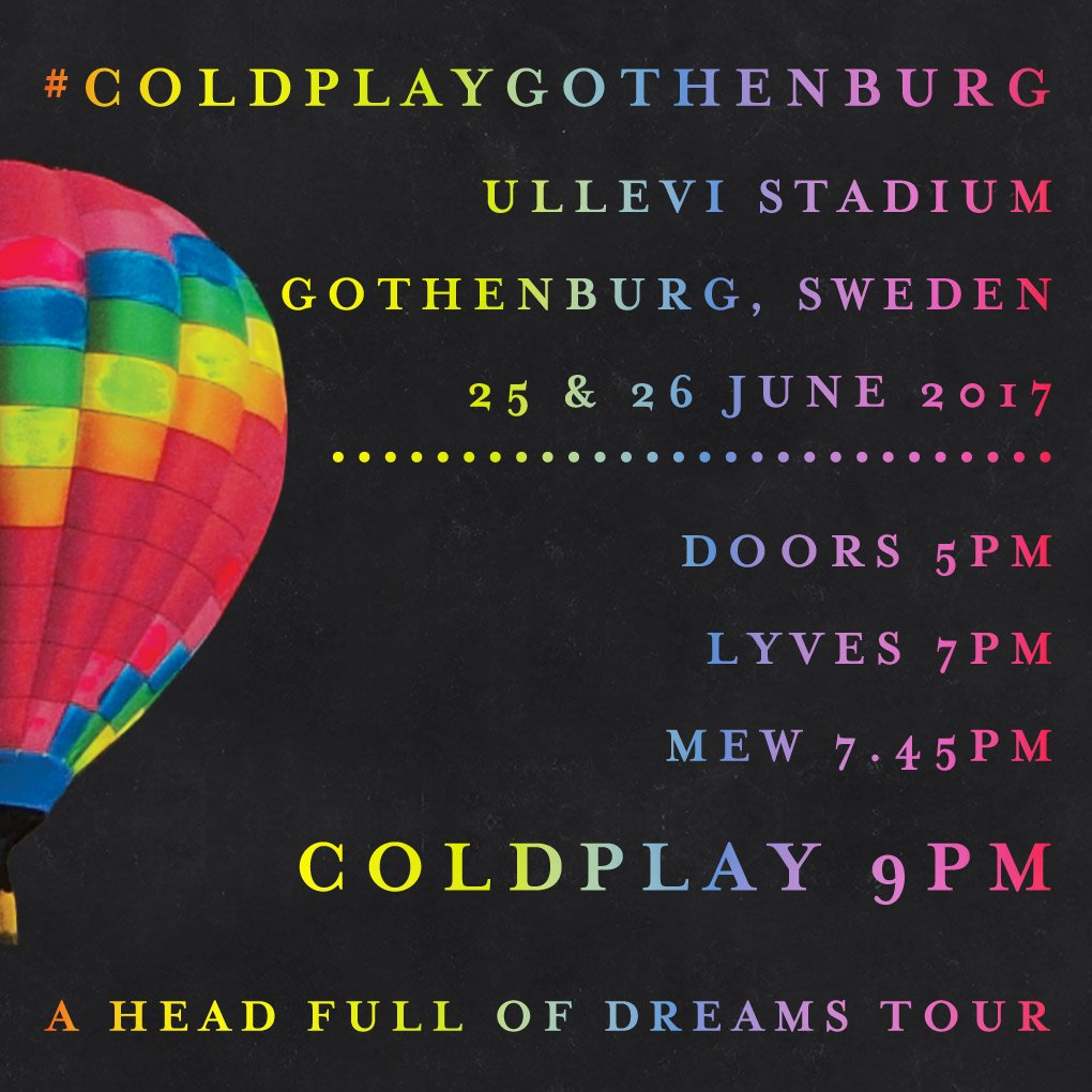 Here are the set times for tonight and tomorrow\'s #ColdplayGothenburg shows with @lyvesmusic and @mew! A