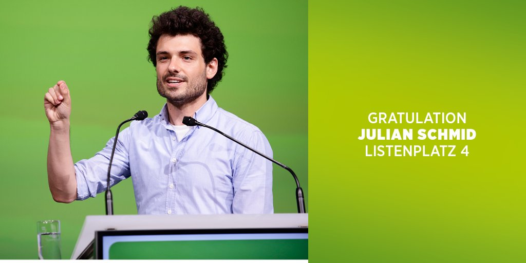 Gerade wurde  @_julianschmid auf den Listenplatz 4 beim Grünen #buko17...