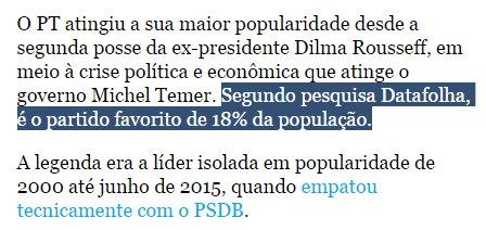 @AnaPaulaVolei sim, faz muito sentido, Lula pagou essa pesquisa para mostrar pro mundo que só 18% da população gosta do partido dele, 82% não, lacrou https://t.co/w