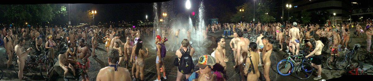 World Naked Bike Ride at #Portland&#39;s Salmon Springs Fountain.  #Panorama @PdxWnbr<br>http://pic.twitter.com/z4hzfoG0KR