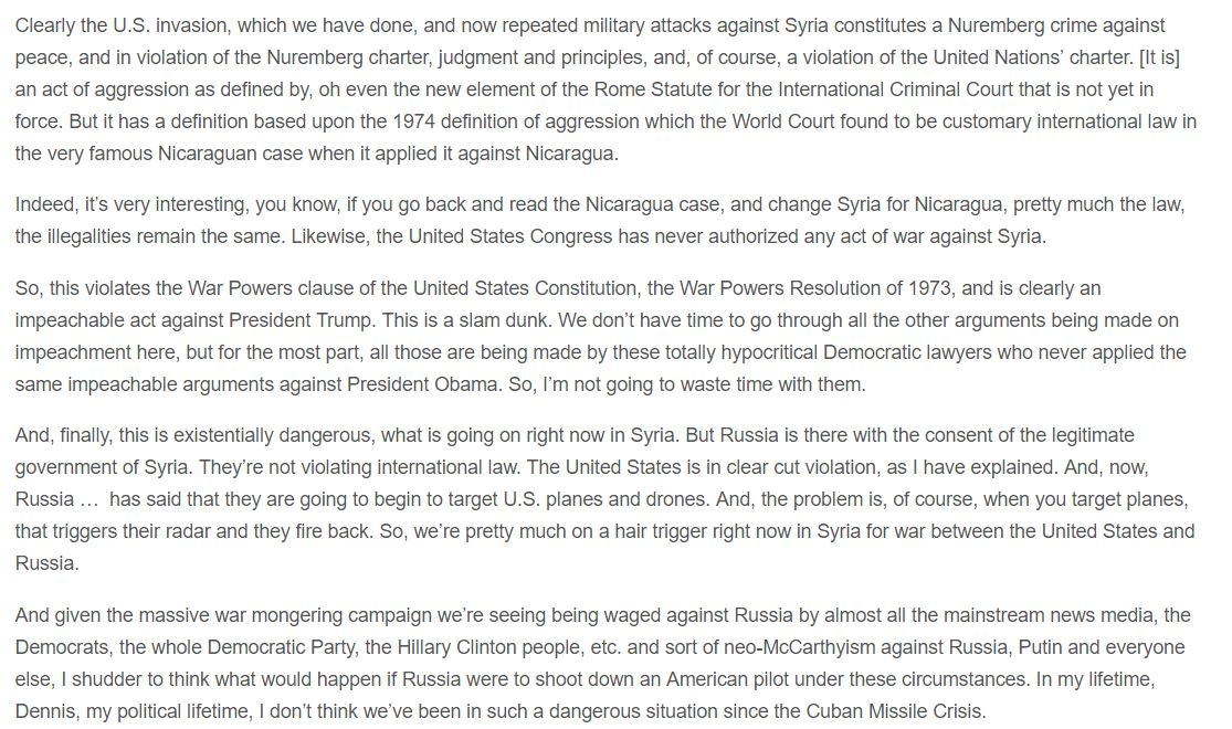 Prof. Francis Boyle on #Syria #US #Russia   https:// consortiumnews.com/2017/06/25/a-b aseless-justification-for-war-in-syria/ &nbsp; … <br>http://pic.twitter.com/nqoZB2fpMk