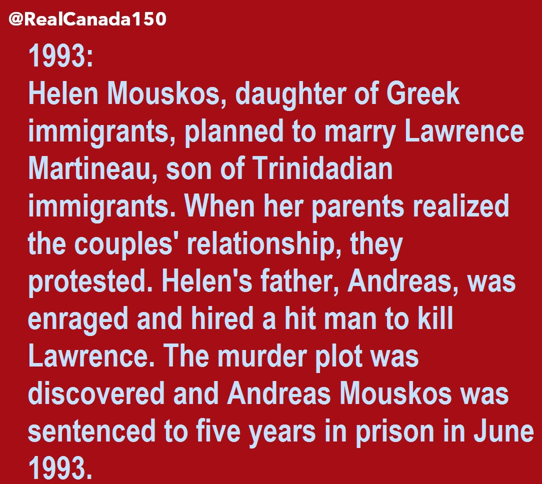7 June 1993: Father Convicted for Hiring Hit Man to Kill Daughter&#39;s Black Fiancé in Montreal, Quebec. #Canada150  #assnat #quebec<br>http://pic.twitter.com/3V7m8R2wtr