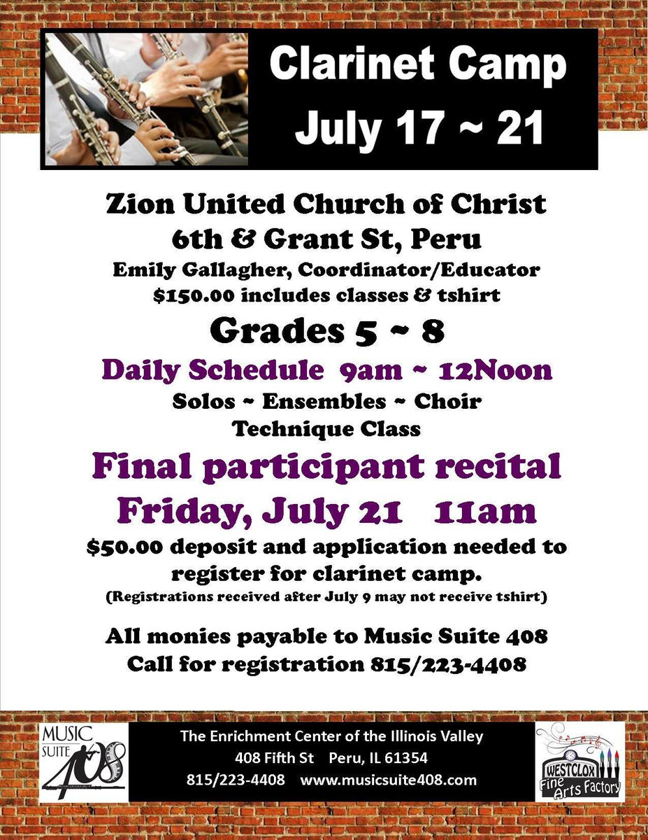 Clarinet &amp; Singing workshops coming up. We need to hear from you. 815/223-4408. #clarinet #singing #kids #music #enrichment<br>http://pic.twitter.com/cyDQLQOTCL