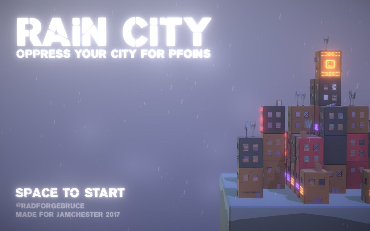 The tile screen for my #solo game at #jamchester2017 #rain #city #gamedev #indiedev #gamejam #unity #bloom #windthings<br>http://pic.twitter.com/hiTGwjqT6o