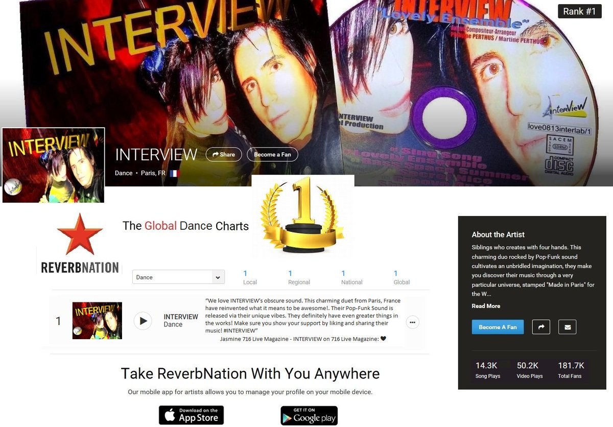 INTERVIEW Number 1 on Top 10 DanceTHANKS #reverbnation #fans   #disco #nudisco #music #funk #dance #electro  #remix  #love #spotify <br>http://pic.twitter.com/LRE4zKgyH0