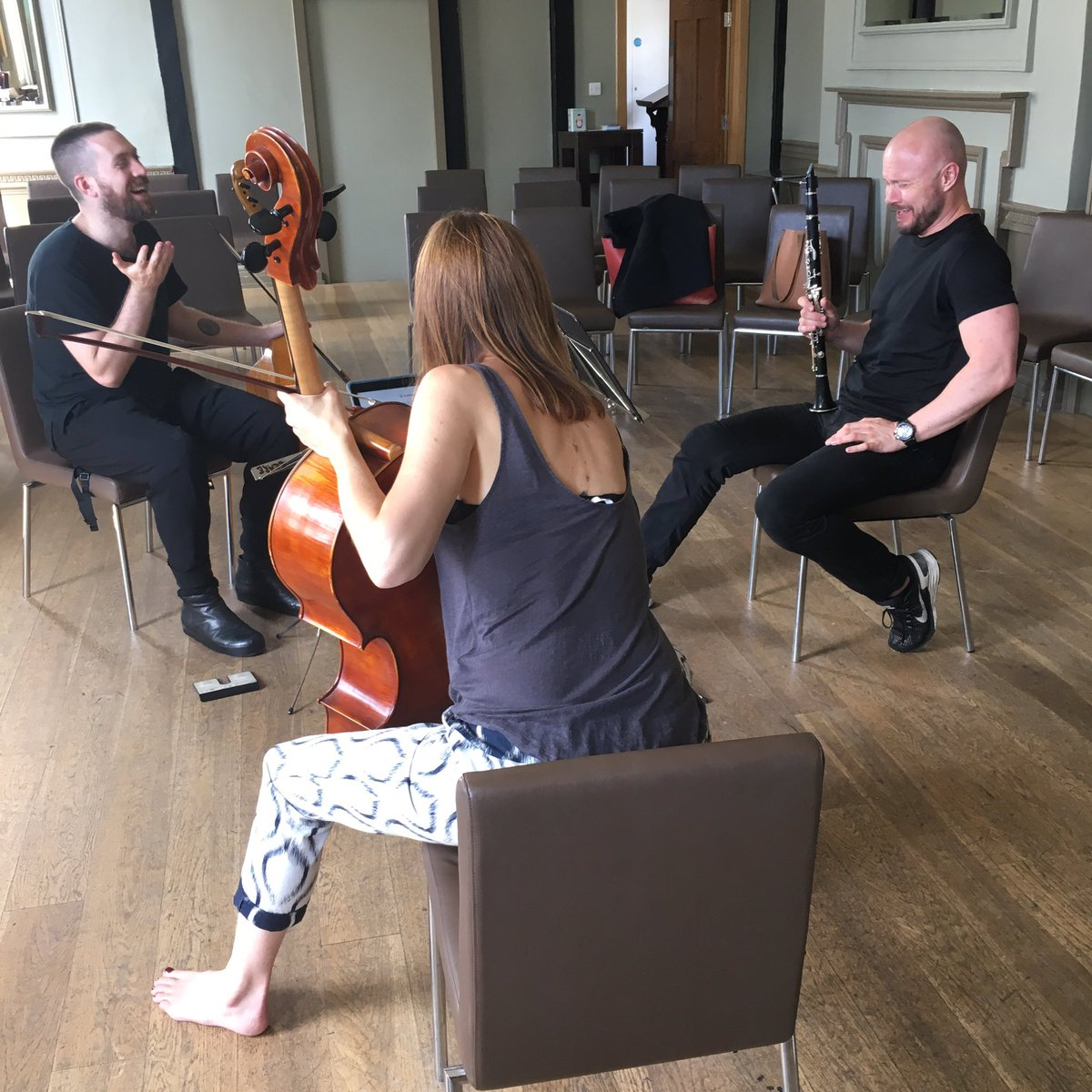 Happy together making beautiful sounds, in divine flow - rehearsing for @KABerkhamsted tonight #SummerMusic #ViolaDaGamba #Cello #Clarinet <br>http://pic.twitter.com/O9HSdCdpZF