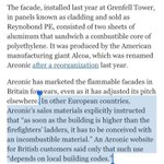 Grenfell cladding that caused inferno was sold in UK by US's Alcoa, even as use was restricted in other countries.  https://t.co/JPu1QOBzdO