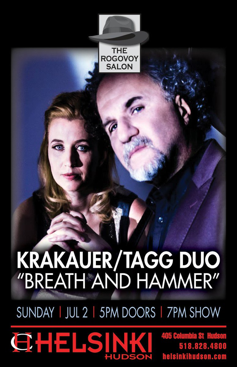 JULY 2 7PM | Krakauer/Tagg Duo |Playing their show &quot;Breath And Hammer&quot;  http:// ow.ly/fvU130cRprL  &nbsp;   #krakauer #tagg #helsinkihudson #clarinet <br>http://pic.twitter.com/jpHzRSonPe
