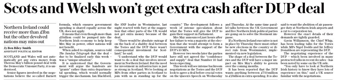 Row coming. Government thinks DUP deal won't trigger Barnett. So no ex...
