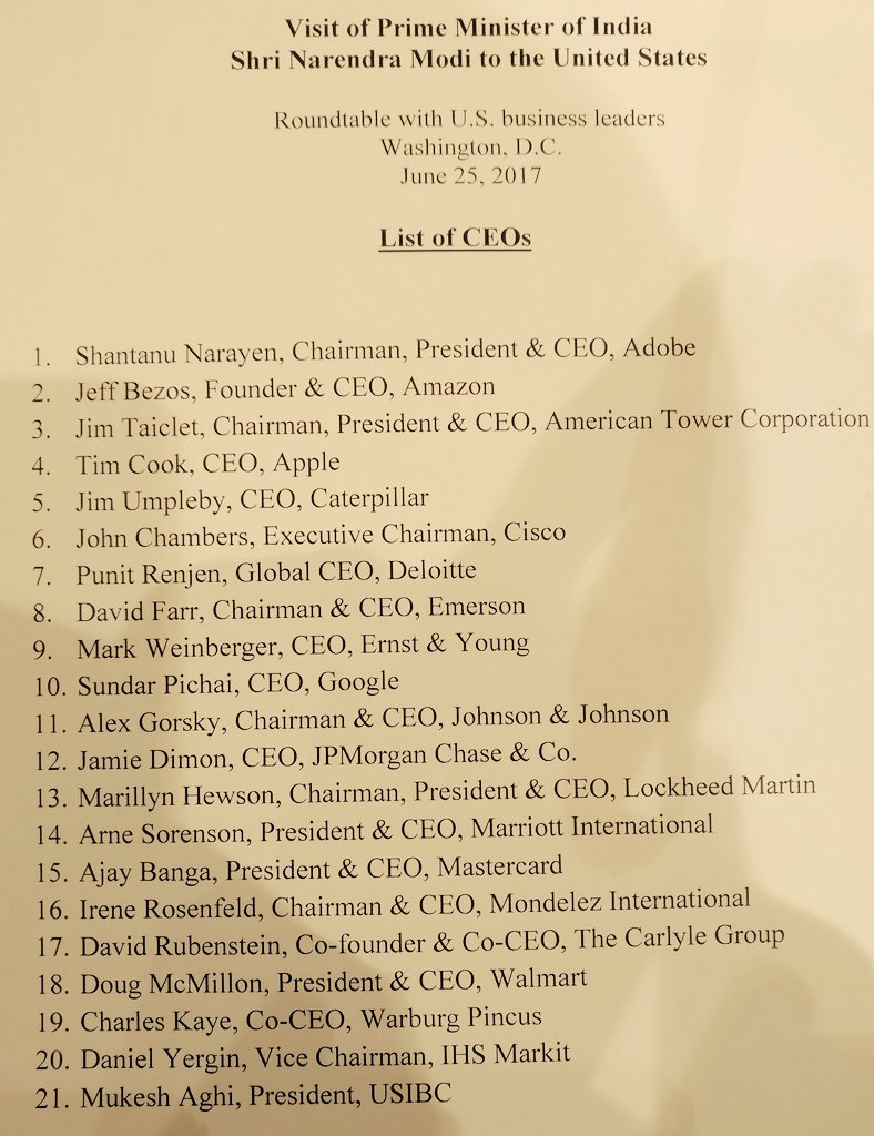 Who's who of business attend CEOs round table hosted by PM Modi in America